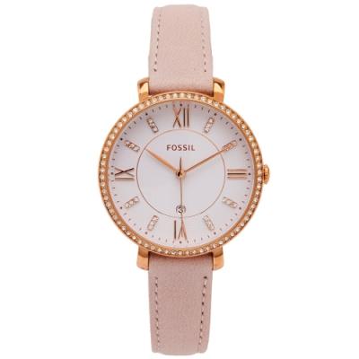 FOSSIL 鑽鑲優雅風皮革女性手錶(ES4303)-白面X粉色/36mm