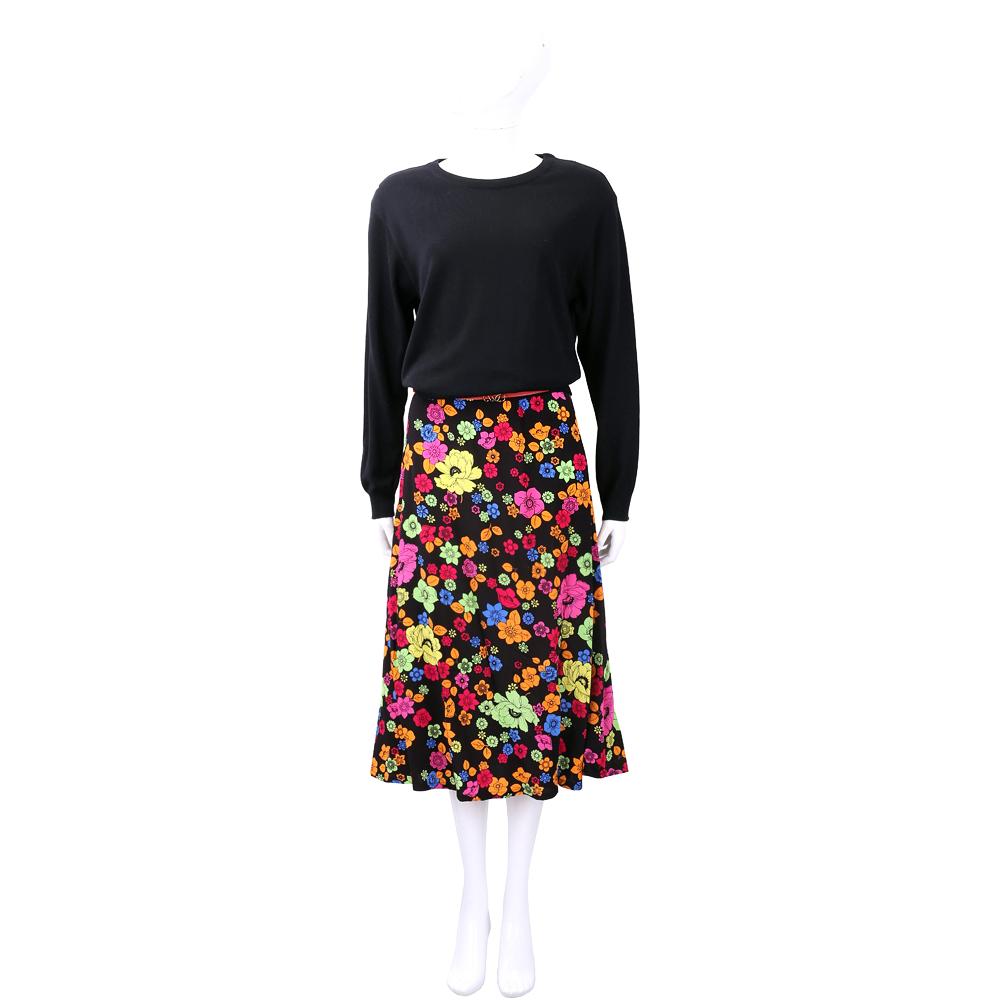 BOUTIQUE MOSCHINO 黑色羊毛拼接印花雪紡洋裝(不含腰帶)