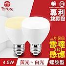 TOYAMA特亞馬 LED雷達感應燈4.5W E27螺旋型(白光、黃光任選)