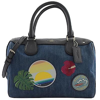 COACH 夏威夷風丹寧電繡圖案兩用波士頓包(藍)