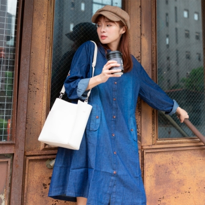 2F韓衣-簡約連帽排扣造型洋裝-深藍色(F)