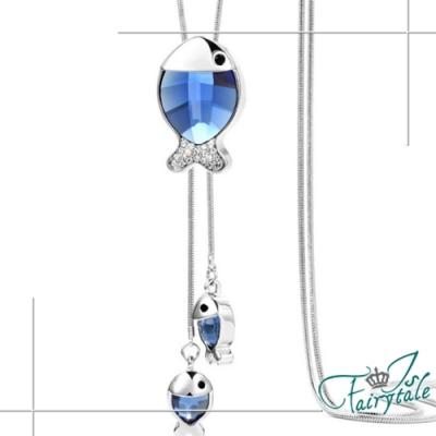 iSFairytale伊飾童話 藍海魚兒 水晶白銀流蘇伸縮長鍊