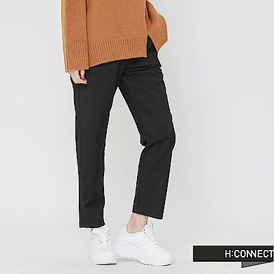 H:CONNECT 韓國品牌 女裝-鬆緊綁帶直筒寬褲-黑
