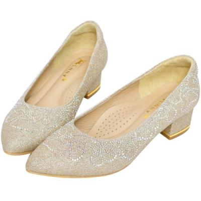 Ann'S璀璨流線手工燙鑽-尖頭舒適低跟婚鞋(版型偏小)-金