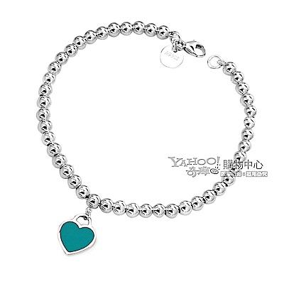 Tiffany&Co. 迷你愛心粉藍色吊牌925純銀串珠手鍊