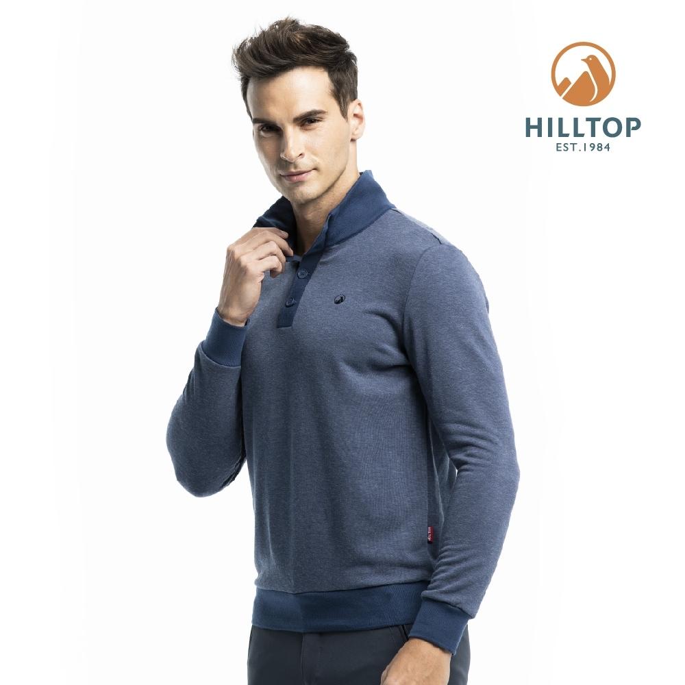 【hilltop山頂鳥】男款混羊毛刷毛保暖上衣H51MI9憂鬱藍