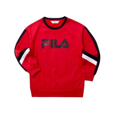 FILA KIDS 女童針織長版T恤-紅 5TET-8411-RD