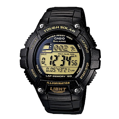 CASIO 戶外運動風格 太陽能 數位顯示錶 (W-S220-9A)-黑/49.8mm