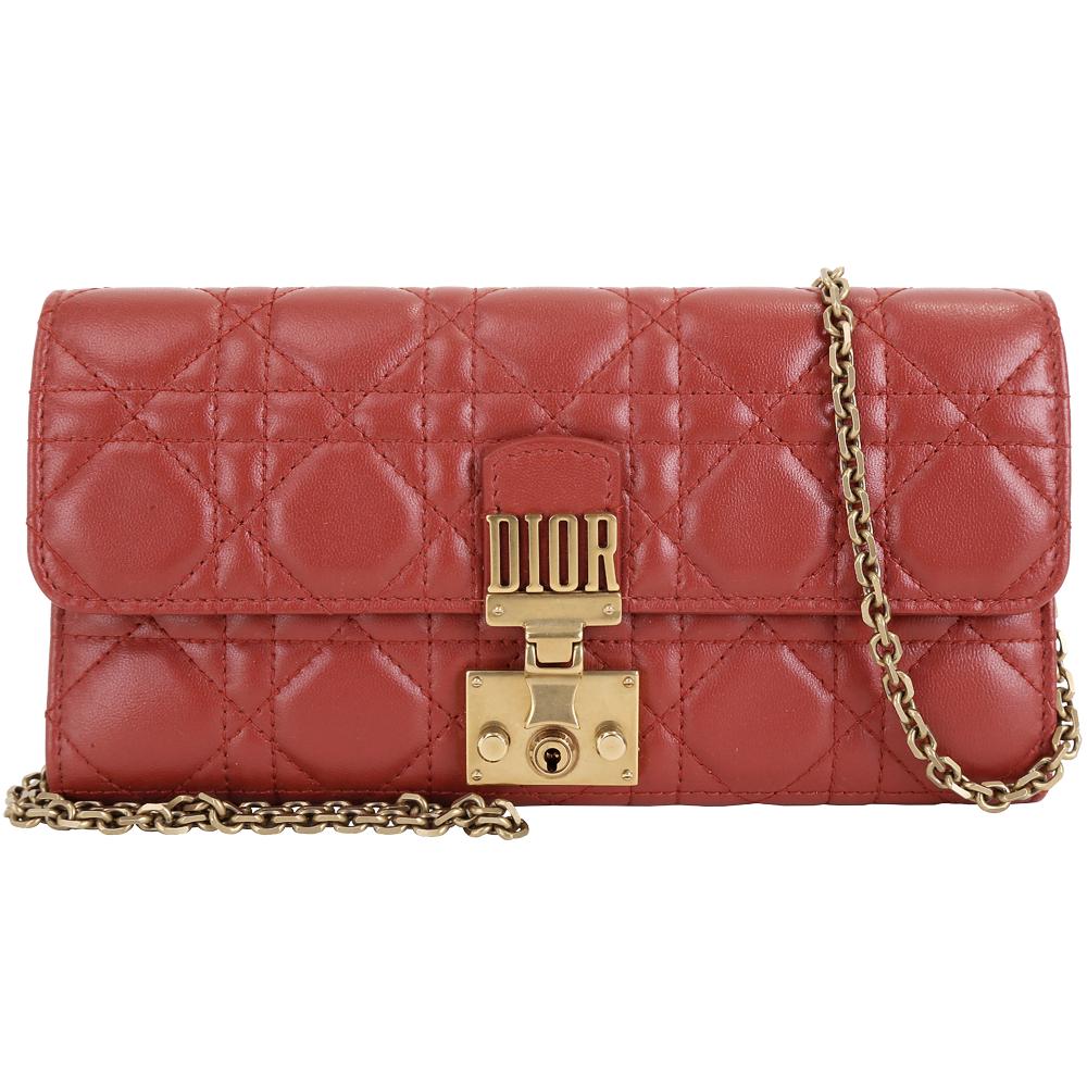 Dior DIORADDICT 頂級小羊皮籐格紋皮夾晚宴包(赭紅色) @ Y!購物