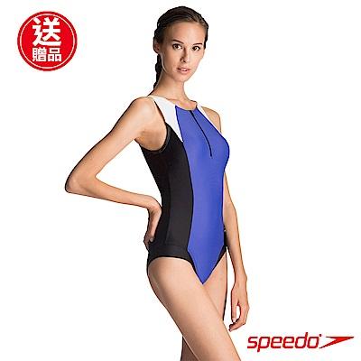 SPEEDO 女 運動連身泳裝 Hydrasuit 藍黑白