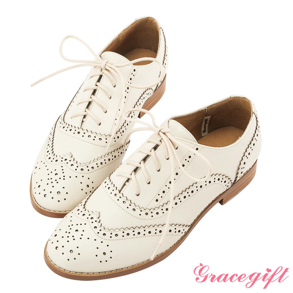 Grace gift-全真皮經典雕花綁帶牛津鞋 米白