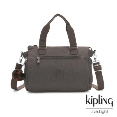 Kipling 極簡深卡其灰色手提側背公事包-PILAR