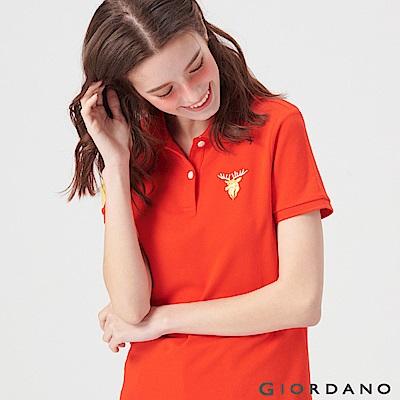 GIORDANO 女裝麋鹿漸層刺繡短袖POLO衫-22 火烈鳥紅