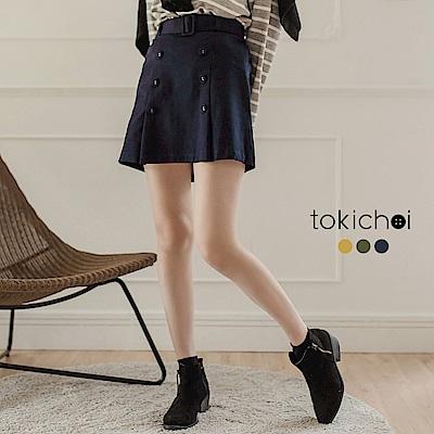 東京著衣 知性可愛排釦腰帶短裙-S.M(共三色)