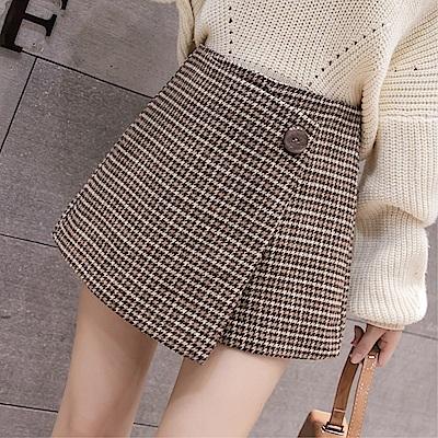 DABI 韓國風百搭毛呢半身格子裙褲裙單品短裙