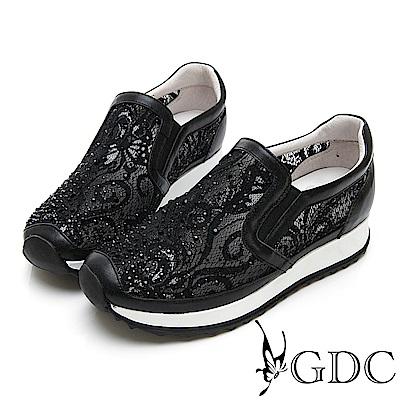 GDC-極Q!軟底簍空網紗透氣水鑽舒適休閒鞋-黑色