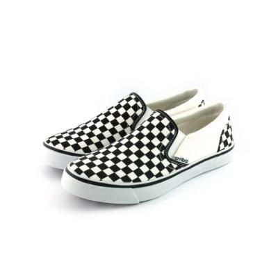 ARRIBA艾樂跑男鞋-格紋休閒鞋 懶人鞋-白黑/灰黑(AB8088)