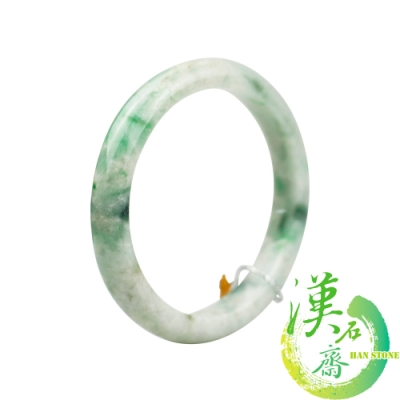 【漢石齋】天然A貨 糯種飄花帶陽綠 翡翠手鐲(手圍19.3/ 版寬 10.5mm)