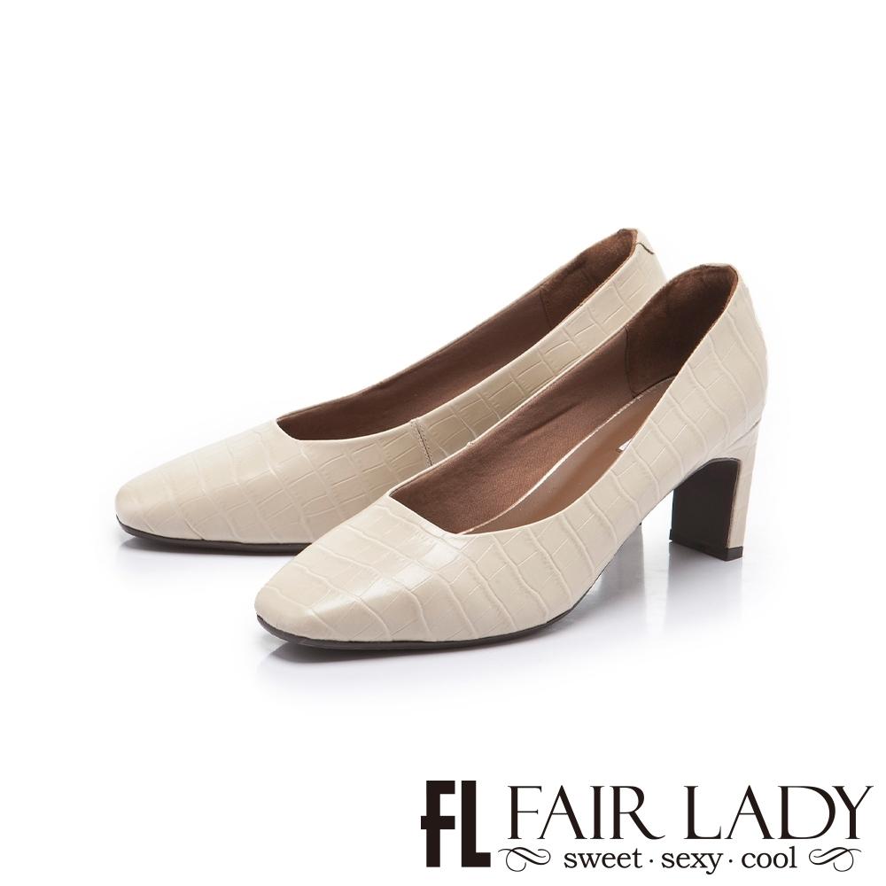 FAIR LADY 優雅小姐 高雅方頭壓紋皮革細跟鞋 象牙