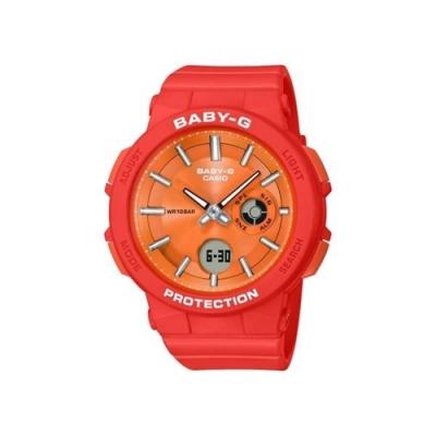 CASIO卡西歐 BABY-G系列 冒險女孩運動雙顯電子錶-橘/45.1mm