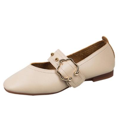 KEITH-WILL時尚鞋館 璀璨年代花朵經典平底鞋-米