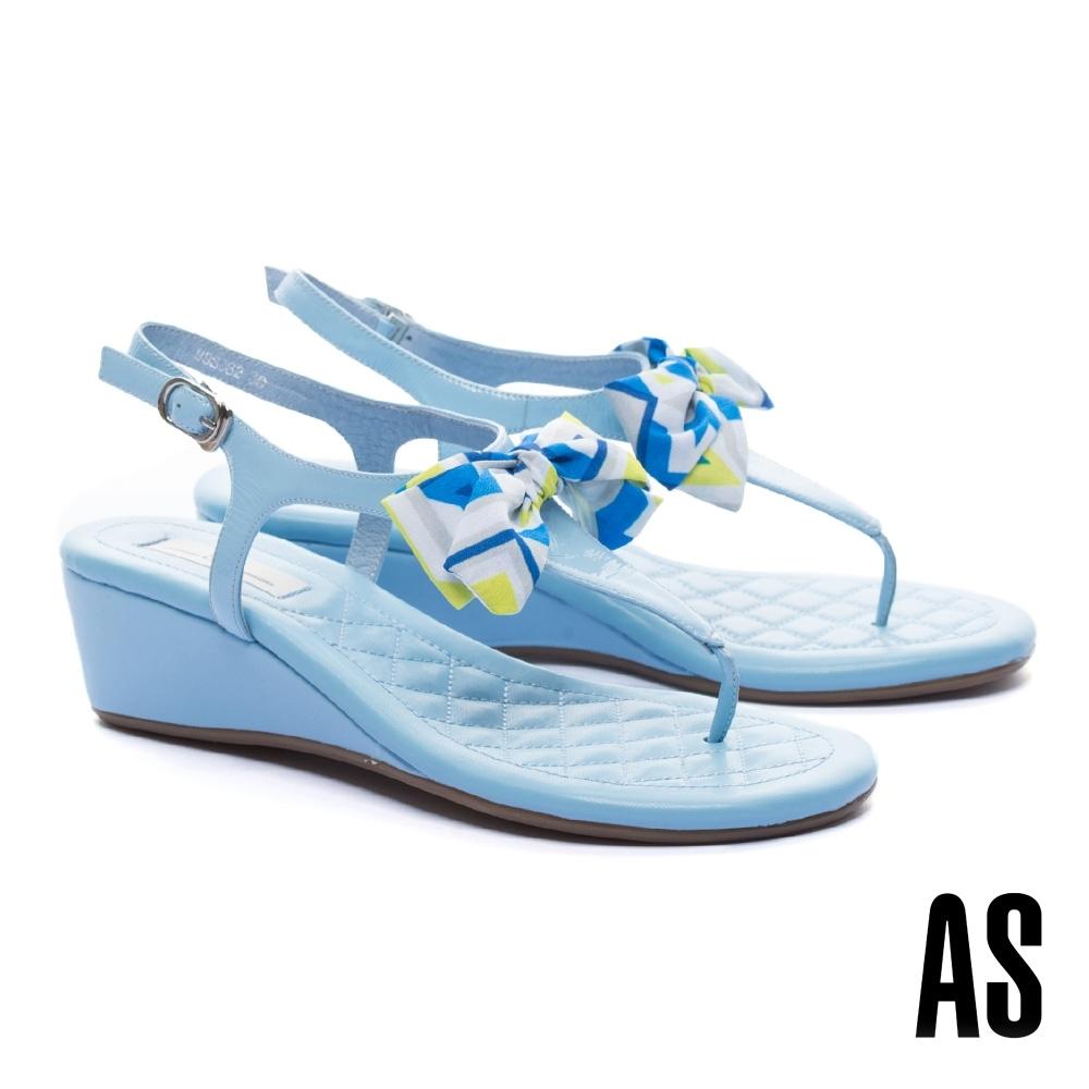 涼鞋 AS 率性甜美蝴蝶結T字繫帶楔型高跟涼鞋-藍