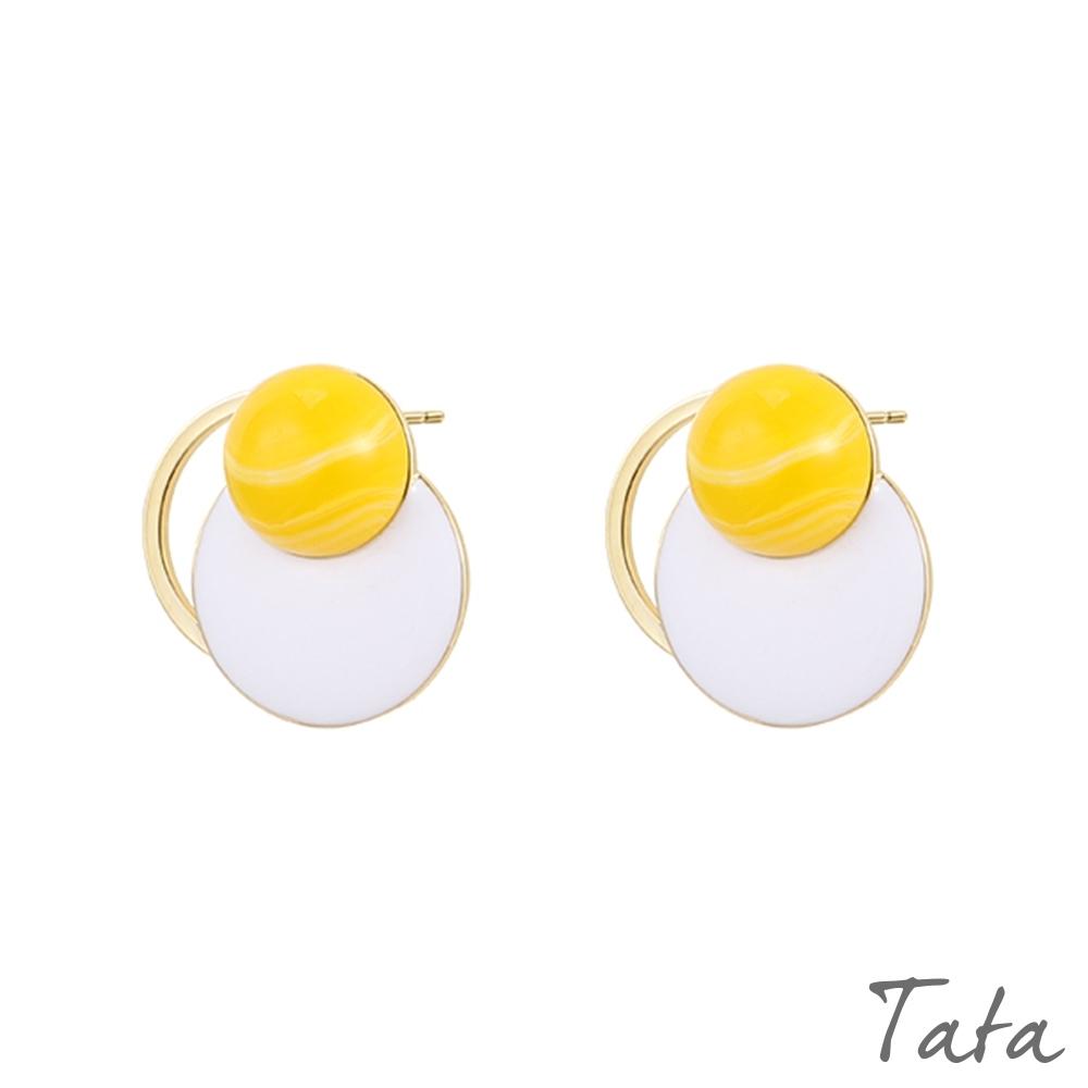 撞色圓片金屬環耳環 共二色 TATA