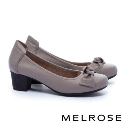 低跟鞋 MELROSE 知性典雅蝴蝶結全真皮粗低跟鞋-杏