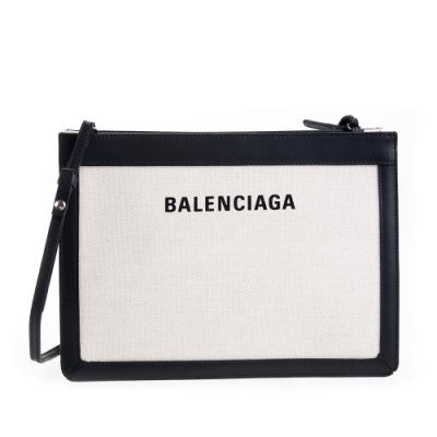 BALENCIAGA 新款LOGO NAVY 黑白字母拼皮帆布包