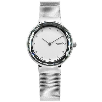 rumba time 紐約品牌 切割鏡面 水鑽點綴 米蘭編織不鏽鋼手錶-銀白色/30mm