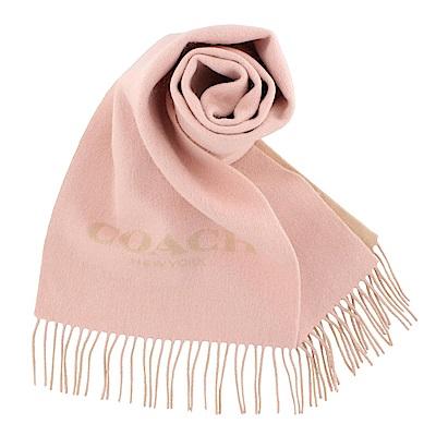 COACH 經典LOGO羊毛羊絨流蘇圍巾 粉色