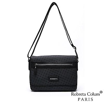 Roberta Colum - 雅痞牛皮掀蓋横式斜背側背包