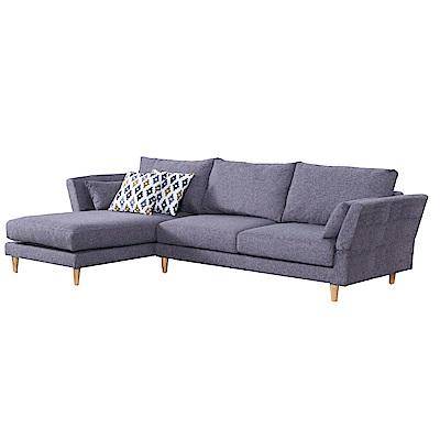 品家居 瓦多娜灰亞麻布L型沙發(左右可選)-284x174x85-免組