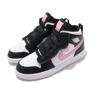 Nike 休閒鞋 Jordan 1 Mid Alt 童鞋 經典款 喬丹一代 魔鬼氈 中童 穿搭 黑 粉 AT4612103