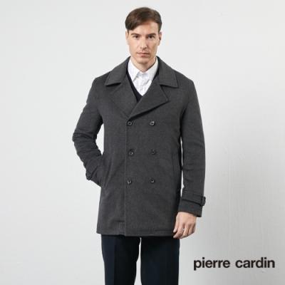 Pierre Cardin皮爾卡登 男裝 都會休閒翻領羊毛風衣外套-深灰(5205783-98)