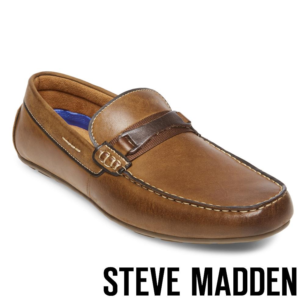 STEVE MADDEN-GARTER 真皮男士雅痞懶人鞋-咖啡