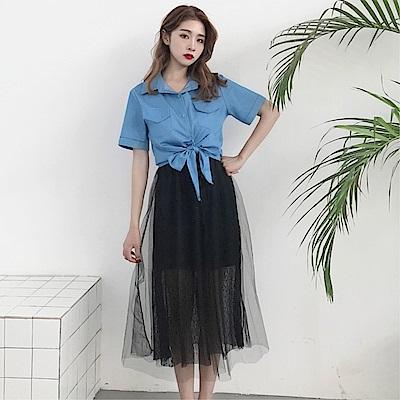 DABI 韓國風時尚網紗蕾絲吊帶牛仔系帶襯衫裙套裝短袖裙裝