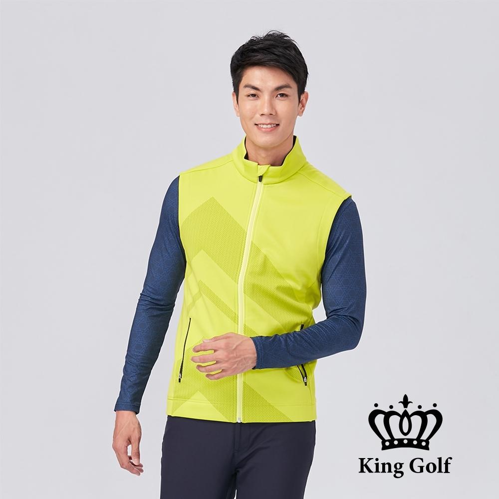 【KING GOLF】KING GOLF印標幾何壓紋拉鍊撞色輕薄防風背心外套-黃綠