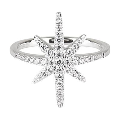 apm MONACO 晶鑽鑲飾流星設計純銀戒指-銀