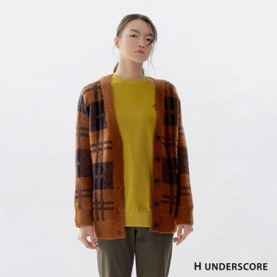 H UNDERSCORE 全新潮牌 女裝 - 復古格紋毛衣外套 - 棕色