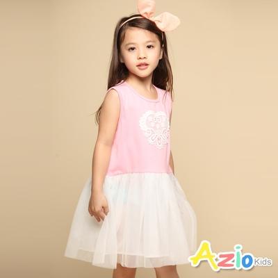 Azio Kids 女童 洋裝 蕾絲小白花刺繡無袖網紗洋裝(粉)