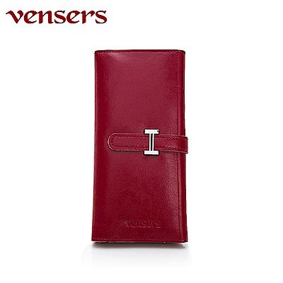 vensers 小牛皮潮流個性皮夾~(TA817202酒紅長夾)