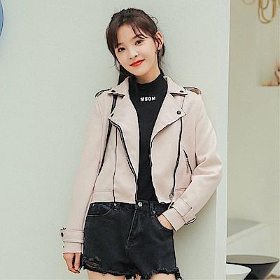 DABI 韓系麂皮絨短顯瘦翻領長袖機車夾克單品外套 @ Y!購物