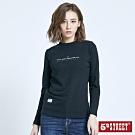 5th STREET 修身微高領 薄長袖T恤-女-黑色