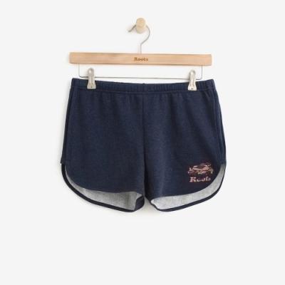 女裝Roots 彩彩色海狸刷毛短褲-藍