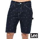 Lee 牛仔褲  903 LEE印刷多口袋舒適工作短褲 男 深藍