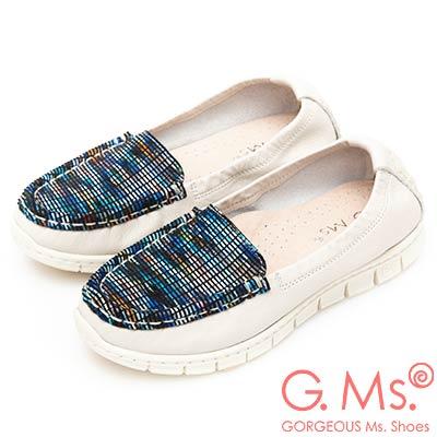 G.Ms. MIT極輕量-牛皮釉彩格紋莫卡辛休閒鞋-米白