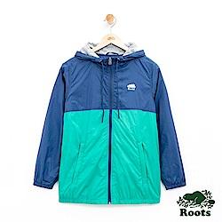 女裝Roots 雙色尼龍連帽夾克-藍