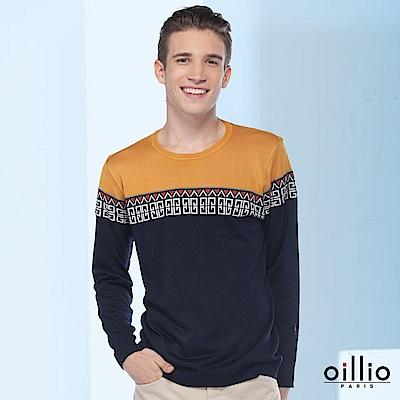 歐洲貴族oillio 長袖線衫 雙色拼接 文化圖騰 藍色