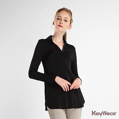 KeyWear 奇威名品    率性簡約三種面料拼接上衣-黑色